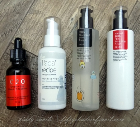 Vitamin C serum, AHA, BHA, and spot treatment