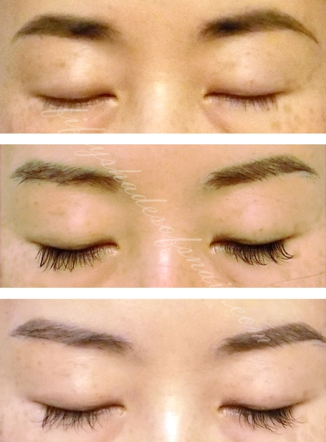Eyelash extensions before and after, eyes closed