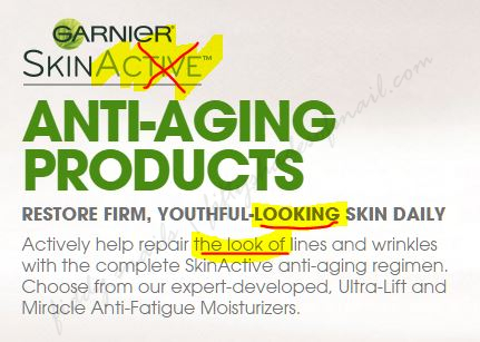 Garnier anti-aging product marketing claims