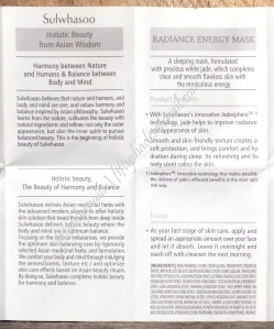 Sulwhasoo Radiance Energy Mask English pamphlet