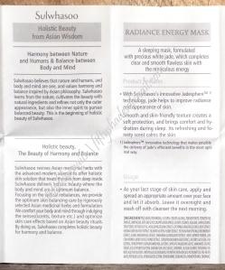 Sulwhasoo Radiance Energy Mask English pamphlet