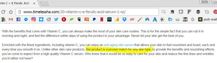 Timeless CEF claim for all skin types