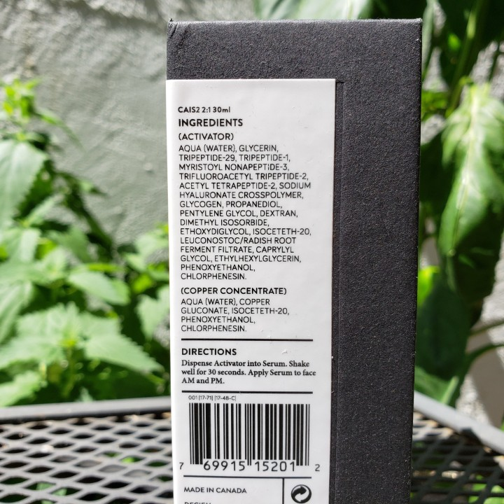 Ingredients list for NIOD Copper Amino Isolate Serum 2:1